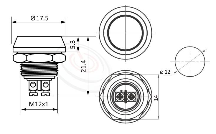 MP12-2MFL Series概略尺寸圖,標示防水按鈕開關的外型長度,平鈕,IP65以上的防水等級,| 防塵防水防化學腐蝕,Φ12mm開孔,1NO一組常開接點,複歸回彈,平鈕,不鏽鋼/銅鍍鎳,面板外徑14mm 平面按鈕容易清潔