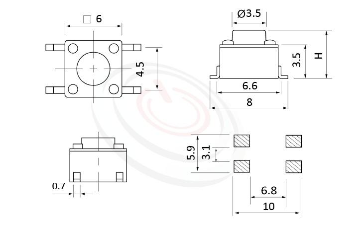 HTS-06MA Series 概略尺寸圖,標示產品: 6x6,SMD貼片包裝,輕觸開關Tact Switch的外型尺寸圖,產品尺寸在圖片中一目了然。 HTS-06MA規格包含: 6x6,SMT 表面黏著,圓頭,直立式,H高度:4.3mm~13mm,常用款。觸動開關小型化的輕觸開關,短行程,使用壽命長,開關壽命區間落在30萬次、50萬次、100萬次...