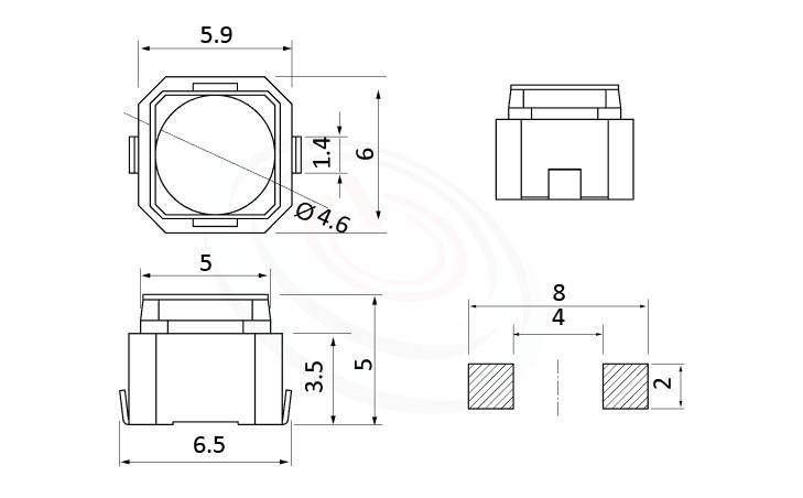 HTS-06ML Series ,6x6mm,長行程,小型輕觸開關Tact Switch尺寸圖 ,SMD
