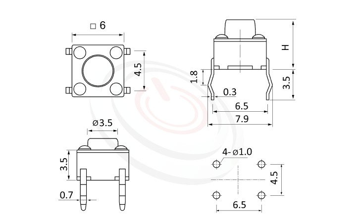HTS-06PA Series 概略尺寸圖,標示產品: 6x6,DIP銲接,觸鍵開關的外型尺寸圖,產品尺寸在圖片中一目了然。 HTS-06PA規格包含: 6x6,插件,圓柄,立式,H高度:4.3mm~26mm,常用款。碰觸開關多款按鍵蓋、鍵帽、按鈕套可搭配使用,適用於不同的操作面板。按柄顏色可選,多種按柄高度可選用,按壓力可選擇
