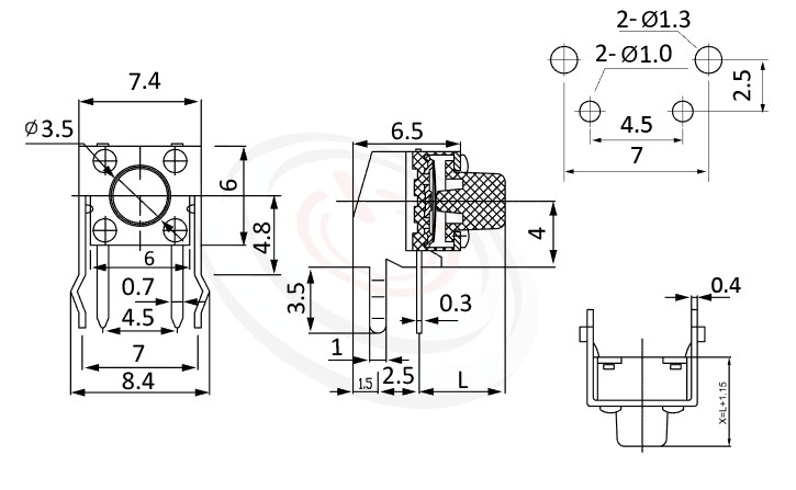 HTS-06RV Series ,6x6mm 90度 側按 輕觸開關Tact Switch尺寸圖 ,PCB版上中心點高度4mm,DIP