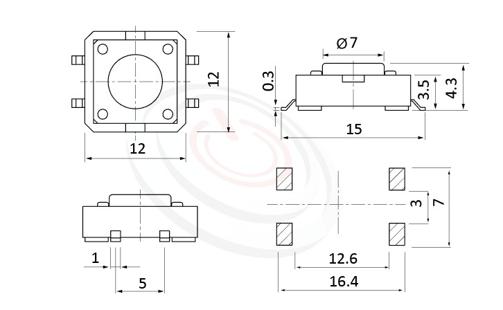 HTS-12MA Series 概略尺寸圖,標示產品: 12x12,SMD表面貼焊,觸動開關的外型尺寸圖,迅速從圖片確認零件外觀尺寸。 HTS-12MA規格包含: 12x12,SMD貼面包裝,圓頭,直立型,H高度:4.3mm~9mm,常用款。觸鍵開關多款按鍵蓋、鍵帽、按鈕套可搭配使用,適用於不同的操作面板。按柄顏色可選,多種按柄高度可選用,按壓力可選擇