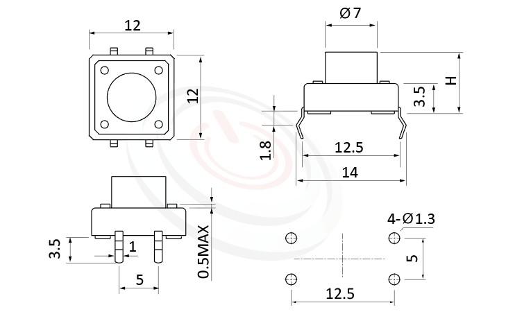 HTS-12PA Series 概略尺寸圖,標示產品: 12x12,DIP焊接,Tact Switch的外型尺寸圖,從圖片輕鬆確認零件外觀尺寸。 HTS-12PA規格包含: 12x12,DIP封裝,圓柄,直立,H高度:4.3mm~21mm,常用型。輕觸開關Tact Switch 尺寸包含3x6mm,4.5x4.5mm,5.2x5.2mm,6x6mm,6.2x6.2mm,12x12mm....