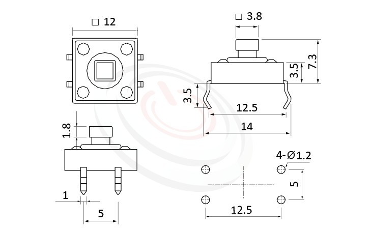 HTS-12PG Series 概略尺寸圖,標示產品: 12x12,DIP銲接,觸動開關的外型尺寸圖,圖片可迅速觀察零件外觀尺寸。 HTS-12PG規格包含: 12x12,插件,方柄,直立,H高度:7.3mm,方頭按鍵。觸碰開關小型化的輕觸開關,短行程,使用壽命長,開關壽命區間落在30萬次、50萬次、100萬次...