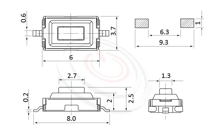 HTS-36MA Series 零件外觀造型示意圖,呈現產品: 3X6,SMD表面貼焊,觸動開關的零件外型圖,圖片用來確認零件適用程度。 HTS-36MA產品規格為: 3X6,SMD表面黏著,直立180度,方頭,外殼防護IP66,防塵SMD,防塵金屬殼。觸鍵開關小型化的輕觸開關,短行程,使用壽命長,開關壽命區間落在30萬次、50萬次、100萬次...