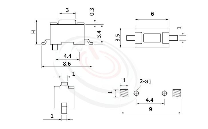 HTS-36MB Series ,6x3.5mm SMT 輕觸開關Tact Switch尺寸圖 ,SMD,固定柱