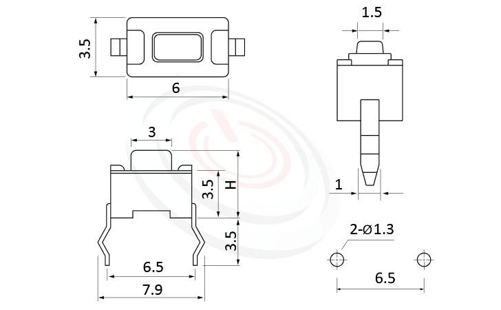 HTS-36PA Series ,6x3.5mm,按鍵輕觸開關Tact Switch尺寸圖 ,DIP式