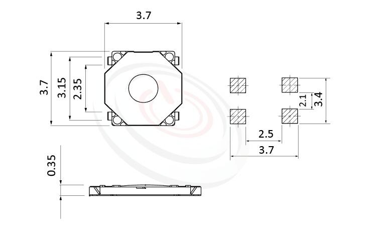 HTS-37MS Series ,3.7x3.7輕觸開關Tact Switch 尺寸圖 ,SMD