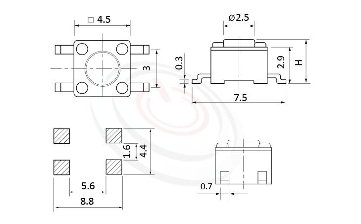 HTS-45MA Series 概略尺寸圖,標示產品: 4.5x4.5,SMD表面貼焊,輕觸開關的外型尺寸圖,圖片用來確認零件適用程度。 HTS-45MA規格包含: 4.5x4.5,SMD貼片包裝,圓柄,直立型,H高度:3.8mm~7.1mm,常用款。碰觸開關可適用於影音產品、數碼產品、遙控器、通訊產品、家用電器、安防產品、玩具、電腦產品、健身器材、醫療器材...等等