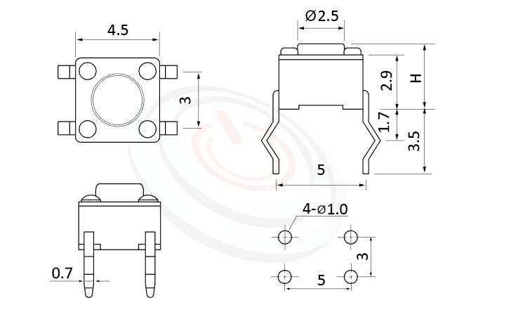 HTS-45PA Series 概略尺寸圖,標示產品: 4.5x4.5,DIP插件包裝,碰觸開關的外型尺寸圖,從圖片輕鬆確認零件外觀尺寸。 HTS-45PA規格包含: 4.5x4.5,插件,圓柄,立式,H高度:3.8mm~7.1mm,常用款。碰觸開關輕觸開關經常使用於汽車遙控、鐵捲門遙控器,包含IP67防水型觸鍵開關,多種按壓力、高度可選擇,可搭配各式鍵帽