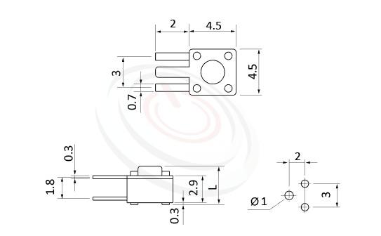 HTS-45RT Series 概略尺寸圖,標示產品: 4.5x4.5,DIP銲接,輕觸按鈕的外型尺寸圖,從圖片輕鬆確認零件外觀尺寸。 HTS-45RT規格包含: 4.5x4.5,DIP焊接,圓柄,側按式,H高度:3.8mm~7.1mm,側按型,90度3隻腳。輕觸按鈕可適用於影音產品、數碼產品、遙控器、通訊產品、家用電器、安防產品、玩具、電腦產品、健身器材、醫療器材...等等