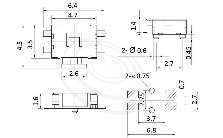 HTS-47SA Series ,4.5x4.7觸動開關Tact Switch尺寸圖 ,SMD表面黏著