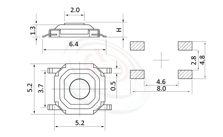 HTS-52MB Series 概略尺寸圖,標示產品: 5X5,SMT貼片型,薄型Tact Switch的外型尺寸圖,由圖片迅速確認零件概略尺寸。 HTS-52MB規格包含: 5X5,SMD貼片包裝,圓柄,立式,版上高度:1.5mm~4.3mm,薄型防塵SMD,防塵金屬殼。輕觸按鈕可廣泛使用在雲端裝置、智能家居、家電業、健康醫療產品業、工控安全系統及通訊業等IOT相關產業