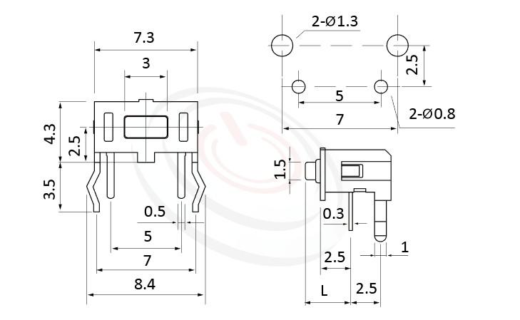 HTS-73RH Series 概略尺寸圖,標示產品: 7x4,插件,TACT SWITCH的外型尺寸圖,從圖片清楚顯示產品尺寸大小。 HTS-73RH規格包含: 7x4,插件,方頭,90度側按,L=4.3mm~5.0mm,側按型,方形側按具固定支架。輕觸開關Tact Switch小型化的輕觸開關,短行程,使用壽命長,開關壽命區間落在30萬次、50萬次、100萬次...