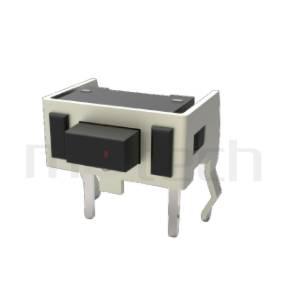 HTS-73RH Series 零件外觀造型示意圖,呈現產品: 7x4,DIP封裝,輕觸開關Tact Switch的零件外型圖,由圖片迅速確認開關概略外型。 HTS-73RH產品規格為: 7x4,DIP插版型,側按式,方頭,L=4.3mm~5.0mm,側按型,方形側按具固定支架。輕觸開關小型化的輕觸開關,短行程,使用壽命長,開關壽命區間落在30萬次、50萬次、100萬次...