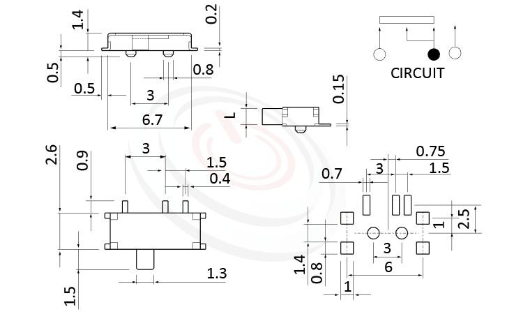 MK-12C02 系列,尺寸圖1P2T,SPDT迴路,臥式 迷你滑動開關 Mini Slide Switch