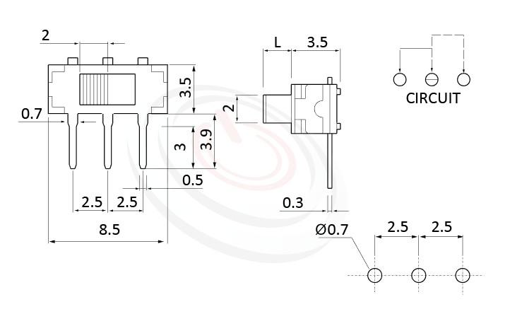 MK-12D13 系列,尺寸圖1P2T,SPDT迴路,臥式 迷你滑動開關 Mini Slide Switch