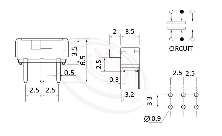 MK-22D10 系列,尺寸圖2P2T,DPDT迴路, 迷你滑動開關 Mini Slide Switch