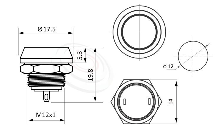 MP12-2MF Series概略尺寸圖,標示金屬按鈕的外型長度,平圓型,防水防塵防破壞,極致防護,MP12-2MF Series-防水金屬按鈕,電源金屬按鍵| 防水、防塵、耐腐蝕,12mm尺寸,1NO,複歸回彈,平面,金屬按鈕
