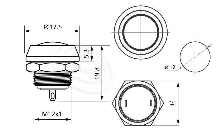 MP12-2MR Series概略尺寸圖,標示防水金屬開關的外型長度,弧型,亮眼外觀,引人注目,| 防水、防破壞、耐腐蝕,12mm,1NO,復位無段,圓弧柄,不帶燈,面板外徑14mm 平面按鈕容易清潔