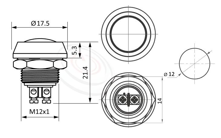 MP12-2MFL Series概略尺寸圖,標示金屬按鈕開關的外型長度,圓頭圓柄弧型防水金屬按鈕,球型,不凡的操作介面為產品大大加分,| 防水、防破壞、耐腐蝕,12mm尺寸,1NO,復歸 自復位,球型,金屬,復歸瞬動自復位/ 自鎖式 開關動作 面板外徑14mm