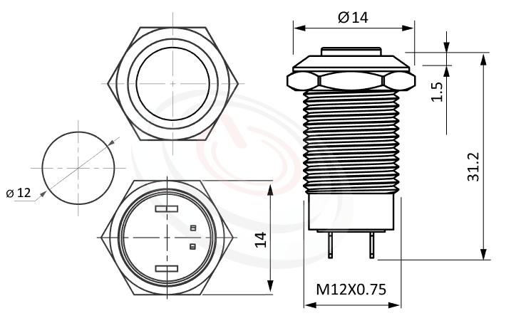MP12-2ZK Series概略尺寸圖,標示防破壞防水防暴金屬開關不鏽鋼按鈕按鍵的外型長度,,高平柄,一組常開接點,有段,高柄,無燈,高平柄,防破壞防水防暴金屬開關不鏽鋼按鈕按鍵| 防水防塵防化學腐蝕,孔徑12mm,常開接點,自鎖LOCK式,高凸柄,不帶燈,金屬開關不鏽鋼按鈕按鍵,面板外徑14mm 耐腐蝕金屬,化學環境適用| MP16TECH提供您最完整的防水金屬按鈕開關產品與服務