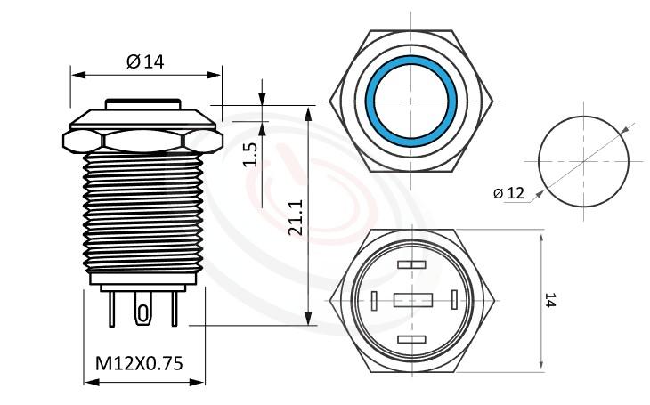 MP12-4MH Series概略尺寸圖,標示照光金屬按鈕的外型長度,高平柄,12mm,Φ12,1NO,復歸無鎖,帶燈,高平面環形燈 | 帶燈金屬按鈕開關,MP12-4MH 系列,面板外徑14mm 耐腐蝕金屬,化學環境適用,更靈活彈性的燈色燈壓選擇,| 防水、防塵、耐腐蝕,,Φ12 開孔尺寸,1NO,自複式回彈,高圓柄,帶燈金屬按鈕開關,多種顏色可選,環形燈,復歸瞬動自復位/ 自鎖式 開關動作 面板外徑14mm
