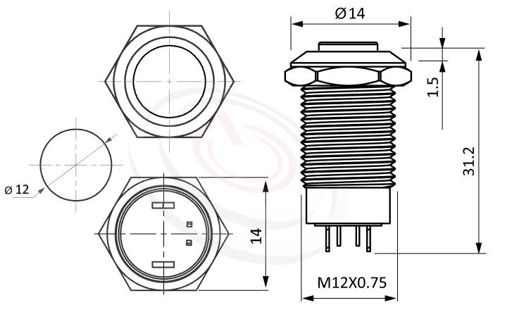 MP12-4ZH Series概略尺寸圖,標示LED照光金屬開關,無極性,正反都可接的外型長度,,高圓形,更靈活彈性的燈色燈壓選擇 防水、防塵、耐腐蝕,GQ12,LAS4GQ,pbm12,cmp,bpb,mp12n,ft-12,J12,MPB12,HK12B,HKYB12B,lb12b,qn12平圓型,材質-黃銅鍍鎳,不鏽鋼,鋁合金