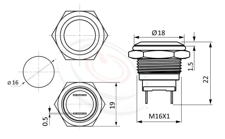 MP16-2MF Series-金屬按鈕| 防塵防水,短款,16mm,1NO一組常開接點,無鎖,平圓形,金屬按鈕,-IP/IK防護,pbm16,cmp,bpb,mp16n,ft-16,lb16b,qn16,GQ16,J16,EJ16,LAS2GQ金屬外殼不鏽鋼按鈕,材質-SUS不鏽鋼,黃銅,鋁殼