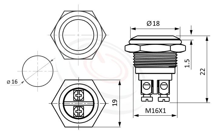 MP16-2MFL Series概略尺寸圖,標示金屬按鈕開關的外型長度,短款,復歸,平面,平柄防水 金屬 按鈕 按鍵 按壓 按押,不帶燈金屬外殼電源按鈕, 防水、防破壞、耐腐蝕,無鎖復歸 | MP16TECH提供您最完整的防水金屬按鈕開關產品與服務