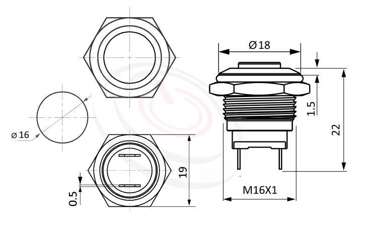 MP16-2MK Series概略尺寸圖,標示防水金屬開關的外型長度,短柄,復歸,高平面,給客戶驚豔的第一吸睛印象, 防水防塵防化學腐蝕,GQ16,LAS2GQ,pbm16,J16,EJ16,cmp,bpb,mp16n,ft-16,lb16b,qn16金屬不鏽鋼按鈕,材質-鋁合金,不鏽鋼,黃銅