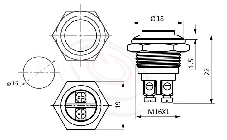 MP16-2MKL Series概略尺寸圖,標示防水按鈕開關的外型長度,短款,小型化,高面,亮眼外觀,引人注目,防水、防破壞、耐腐蝕,GQ16,J16,EJ16,LAS2GQ,pbm16,cmp,MPB16,HK16B,HKYB16B,bpb,mp16n,ft-16,lb16b,qn16金屬不鏽鋼按鈕,材質-SUS不鏽鋼,黃銅,鋁殼 | MP16TECH提供您最完整的防水金屬按鈕開關產品與服務