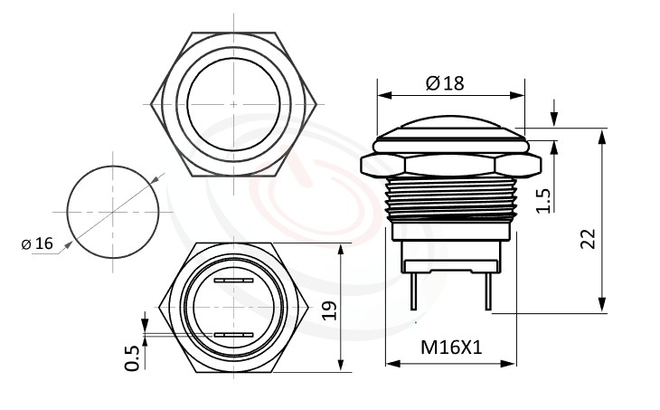 MP16-2MR Series概略尺寸圖,標示金屬按鈕開關的外型長度,短款開關,圓弧柄,亮眼外觀,引人注目,防水防暴安全防護,GQ16,LAS2GQ,pbm16,cmp,bpb,mp16n,ft-16,lb16b,qn16,J16,EJ16,MPB16,HK16B,HKYB16B金屬外殼不鏽鋼按鈕,材質-鋁合金,不鏽鋼,黃銅