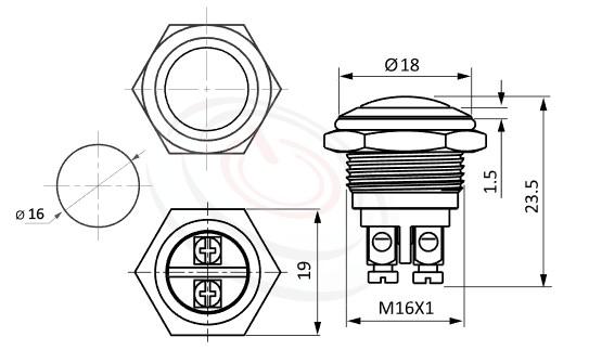 MP16-2MRL Series概略尺寸圖,標示防水金屬開關的外型長度,短款開關,弧型,球型,金屬質感,門禁系統,按壓式開門按鈕 ,compare with GQ16,J16,EJ16,LAS2GQ,pbm16,cmp,MPB16,HK16B,HKYB16B,bpb,mp16n,ft-16,lb16b,qn16,金屬外殼不鏽鋼按鈕,材質-黃銅鍍鎳,不鏽鋼,鋁合金
