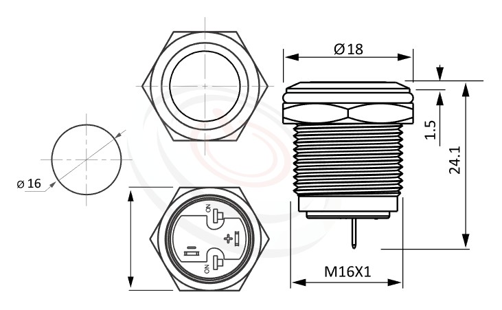 MP16-2ZF Series概略尺寸圖,標示防水按鍵押扣按鈕的外型長度,短款,小型化,平面,金屬質感,氣勢非凡-IP65以上防水等級,GQ16,LAS2GQ,pbm16,cmp,bpb,J16,MPB16,HK16B,HKYB16B,mp16n,ft-16,lb16b,qn16不鏽鋼金屬無燈,材質-不鏽鋼SUS,金屬外殼