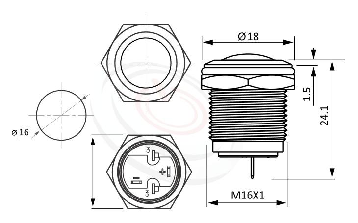 MP16-2ZR Series概略尺寸圖,標示金屬高強度抗破壞按鈕開關的外型長度,短型,球柄,IP65以上的防水等級,球面 防塵防水防化學腐蝕,GQ16,LAS2GQ,pbm16,cmp,bpb,J16,MPB16,HK16B,HKYB16B,mp16n,ft-16,lb16b,qn16無燈金屬按鍵,材質-SUS,鋁合金,金屬外殼