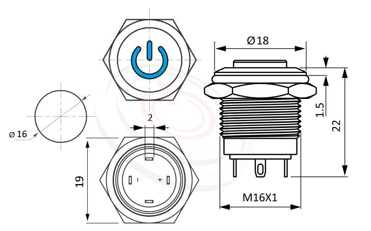MP16-4ME Series概略尺寸圖,標示金屬按鈕開關的外型長度,短款,高平面電源符號,凸柄,防水、防破壞、耐腐蝕,GQ16,LAS2GQ,pbm16,J16,EJ16,cmp,bpb,mp16n,MPB16,HK16B,HKYB16B,ft-16,lb16b,qn16POWER LOGO,材質-不鏽鋼SUS,金屬外殼
