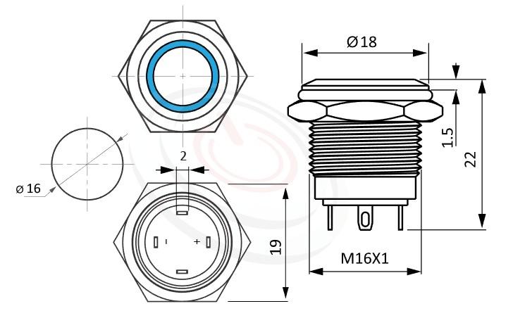 MP16-4MF Series概略尺寸圖,標示照光金屬按鈕的外型長度,短型,平面,IP65以上的防水等級,防水防暴安全防護,GQ16,LAS2GQ,pbm16,cmp,bpb,J16,MPB16,HK16B,HKYB16B,mp16n,ft-16,lb16b,qn16平圓形,材質-SUS不鏽鋼,黃銅,鋁殼