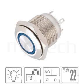 MP16-4MF Series-照光金屬開關| 防水防塵,短型,16mm尺寸,1NO,無段,平圓型,LED燈金屬開關,LED帶燈,六種燈色可選,環形帶燈,平面,材質-黃銅,鋁合金,不銹鋼,無段復位 防水、防塵、耐腐蝕| MP16TECH提供您最完整的防水金屬按鈕開關產品與服務