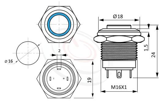 MP16-4MH Series概略尺寸圖,標示照光式金屬按鈕的外型長度,短柄,高平圓形,可客製/雷雕按鍵圖案, 防水、防塵、耐腐蝕,GQ16,LAS2GQ,pbm16,cmp,bpb,mp16n,ft-16,lb16b,qn16,J16,EJ16,MPB16,HK16B,HKYB16B平鈕,材質-不鏽鋼SUS,金屬外殼