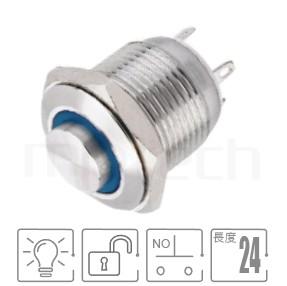 MP16-4MH Series-照光金屬開關|防水、防塵,短型,16mm尺寸,一組常開接點1NO,無鎖,高平圓形,照光金屬開關,六種燈色可選,平面,材質-不鏽鋼,黃銅鍍鎳,鋁合金,無鎖復歸 防水、防破壞、耐腐蝕| MP16TECH提供您最完整的防水金屬按鈕開關產品與服務