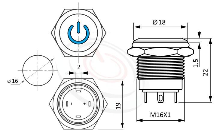 MP16-4MP Series概略尺寸圖,標示金屬按鈕開關的外型長度,短款,小型化,平面電源符號, 迷你金屬按鈕,防水、防破壞、耐腐蝕,GQ16,LAS2GQ,pbm16,cmp,bpb,J16,MPB16,HK16B,HKYB16B,mp16n,ft-16,lb16b,qn16電源符號燈,材質-金屬殼,不銹鋼SUS,銅,鋁合金