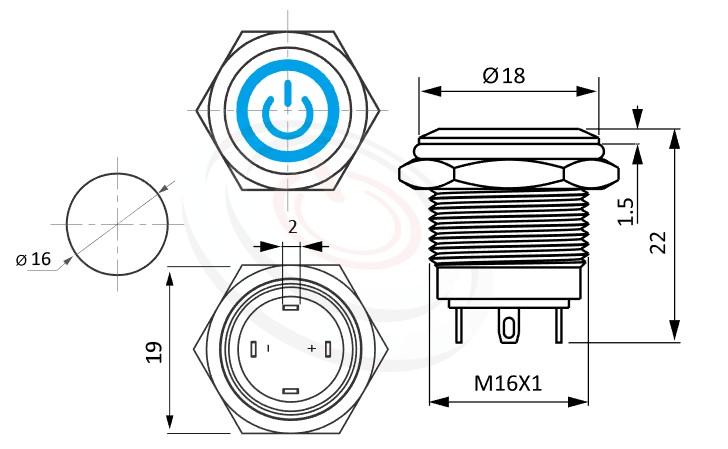 MP16-4MQ Series概略尺寸圖,標示金屬按鈕開關的外型長度,短款,小型化,平面電源符號+環形,金屬質感,氣勢非凡, 防水、防塵、耐腐蝕,GQ16,J16,EJ16,LAS2GQ,pbm16,cmp,MPB16,HK16B,HKYB16B,bpb,mp16n,ft-16,lb16b,qn16IO符號加環形燈 | MP16TECH提供您最完整的防水金屬按鈕開關產品與服務