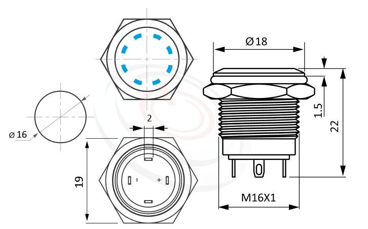 MP16-4MS Series概略尺寸圖,標示金屬按鈕開關的外型長度,短型,平面多點狀,各式尺寸長度可靈活應用-IP65以上防水等級,鋼鐵人發光符號,GQ16,LAS2GQ,pbm16,cmp,bpb,J16,MPB16,HK16B,HKYB16B,mp16n,ft-16,lb16b,qn16多點狀帶燈,材質-SUS,鋁合金,金屬外殼