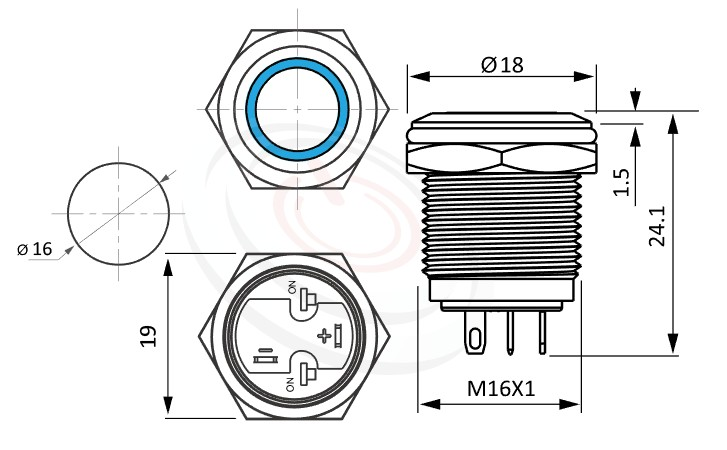 MP16-4ZF Series概略尺寸圖,標示照光金屬按鈕,雙向LED無極性的外型長度,短款開關,平柄,可客製/雷雕按鍵圖案,平面環形燈 防水、防塵、耐腐蝕,GQ16,LAS2GQ,pbm16,J16,EJ16,cmp,bpb,mp16n,MPB16,HK16B,HKYB16B,ft-16,lb16b,qn16平圓形,材質-外殼金屬,不鏽鋼,不銹鋼
