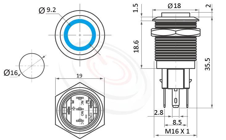 MP16-5ZH Series概略尺寸圖,標示LED帶燈照光金屬開關,雙向極性,LED正反可接的外型長度,,高平面,金屬質感,氣勢非凡,高平面環形燈 防水防塵防化學腐蝕,J16,EJ16,MPB16,HK16B,HKYB16B,GQ16,LAS2GQ,pbm16,cmp,bpb,mp16n,ft-16,lb16b,qn16平圓形,材質-外殼金屬,不鏽鋼,不銹鋼