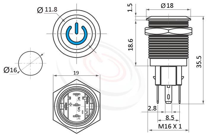 MP16-5ZP Series概略尺寸圖,標示啟動符號LED帶燈照光金屬開關,雙向極性,LED正反可接的外型長度,,平頭,可客製/雷雕按鍵圖案,平面電源符號防水/防塵/防化學腐蝕,GQ16,LAS2GQ,MPB16,HK16B,HKYB16B,J16,EJ16,pbm16,cmp,bpb,mp16n,ft-16,lb16b,qn16電源開機符號,材質-黃銅鍍鎳,不鏽鋼,鋁合金