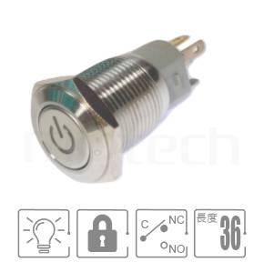 MP16-5ZP Series-LED帶燈照光金屬開關,雙向極性,LED正反可接 防水防塵防化學腐蝕,,開孔Φ16mm,一常開一常閉一共點,有鎖,平頭,LED金屬按鈕帶燈,六種燈色可選,電阻內建,power符號燈,平面電源符號電源符號燈pbm16,cmp,bpb,mp16n,ft-16,lb16b,qn16,GQ16,J16,MPB16,HK16B,HKYB16B,EJ16,LAS2GQ,材質-鋁合金,不鏽鋼,黃銅,有段-IP65以上防水等級| MP16TECH提供您最完整的防水金屬按鈕開關產品與服務