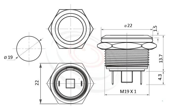 MP19-2MF Series概略尺寸圖,標示防水金屬開關的外型長度,短款開關,平柄,眼睛為之一亮的開關新選擇MP19-2MF Series概略尺寸圖,標示金屬按鍵壓扣按鈕的外型長度,小型,短款開關,平圓型,給客戶驚豔的第一吸睛印象防水/防塵/防化學腐蝕,可對應GQ19,LAS1-BGQ,MPB19,MPS19,MW19,HK19B,HKYB19B,LAS1-AGQ,LAS1GQ,pbm19,cmp,bpb,mp19n,ft-19,lb19b,qn19,J19,EJ19金屬外殼不鏽鋼按鈕,材質-金屬殼,不銹鋼SUS,銅,鋁合金