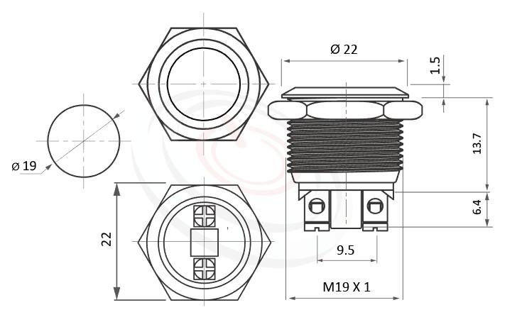 MP19-2MFL Series概略尺寸圖,標示防破壞防水防暴金屬開關不鏽鋼按鈕按鍵的外型長度,短柄,平頭,IP65以上的防水等級 防水、防塵、耐腐蝕,對應pbm19,cmp,bpb,mp19n,ft-19,lb19b,J19,MPB19,MPS19,MW19,HK19B,HKYB19B,qn19,GQ19,LAS1-BGQ,LAS1-AGQ,LAS1GQ,LAS4GQ不鏽鋼金屬無燈,材質-不鏽鋼SUS,金屬外殼
